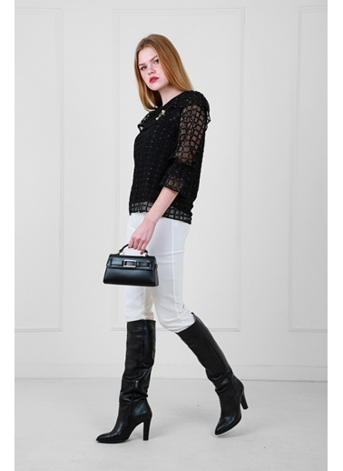 JEANNE D'ARC Ekose Desenli Dantel Bluz Ve Pantolon Set Beyaz